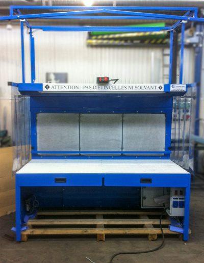 Table aspirante spéciale chassis porte outil pneumatique air comprime commande arrêt urgence proximité opérateur
