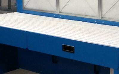 Récupération grosses poussières ou petit outillage dans tiroir table table aspirante autonome MH-ASPIRATIONS.